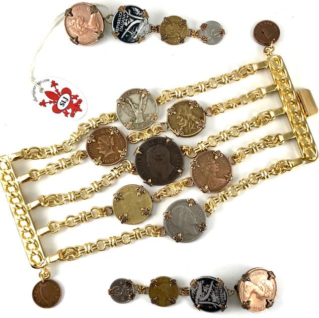 Wide Coin Bracelet & Earrings - $440
