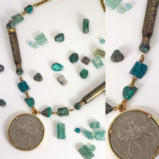 Turquoise & Roman Glass Necklace - $190
