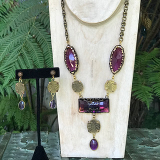 Amythest Stone Necklace & Earrings - $230