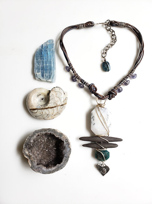 Love is the Magic: Merlinite, Apatite, Iolite Reiki Infused Necklace