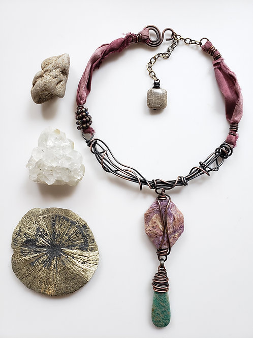 Shapeshifter: Charoite and Amazonite Necklace