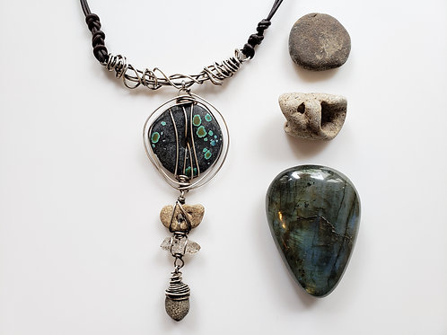 Talisman of the Traveler: Turquoise, Hagstone, Quartz and Fossil Necklace