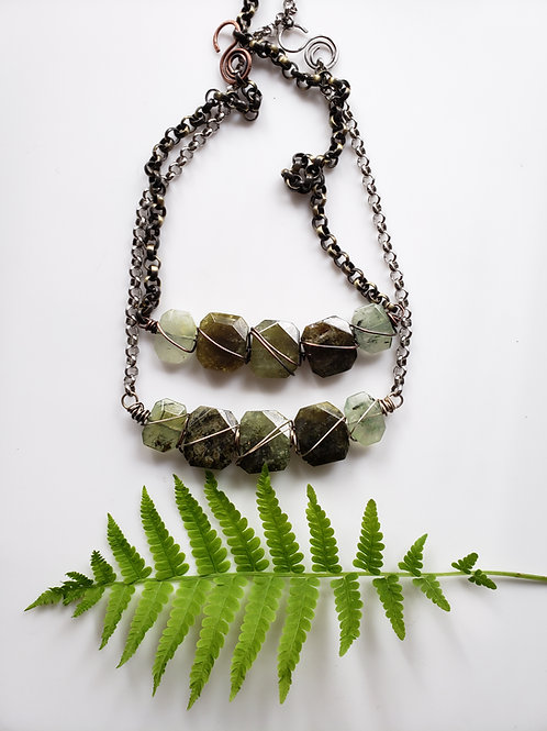 Healing Forest: Green Garnet and Prehenite Custom Reiki Infused Necklace
