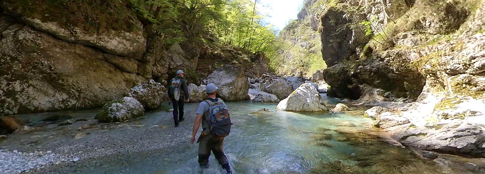 fly fishing guide guiding marble trout Soca river Slovenia