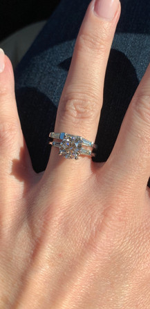 Bridget's Diamond and Platinum Setting Together Again! Bridget's birthday showing diamond and setting together, diamond engagement ring lost and found in snow, lost engagement ring found in snow, Brian Rudolph, The Ring Returner, The Ring Finders