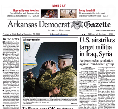 Arkansas newspaper frontpage