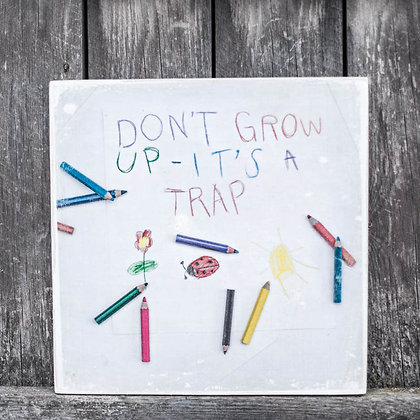 "Puutaulu ""Don't grow up"""