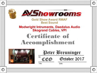 Rocky Mountain Audio Fest 2017 Gold Award