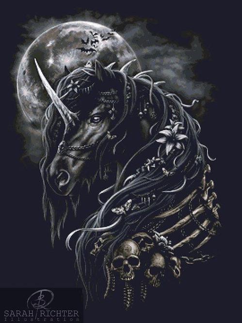 Dark Unicorn Cross Stitch - Chart - Kit - Fantasy