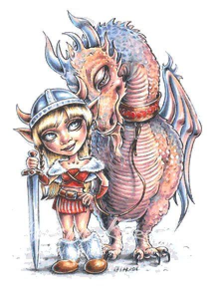 Viking Troll Girl and Dragon Cross Stitch Chart PDF