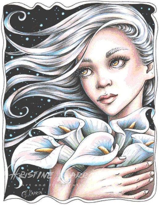 Calla Lilly Fairy Cross Stitch Chart - Kit