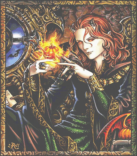 Pumpkin Master Cross Stitch - Gothic - Fantasy -Halloween - Magic - Candra