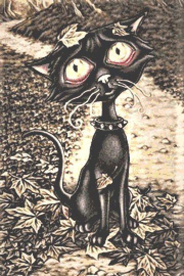 Black Cat Cross Stitch Chart PDF