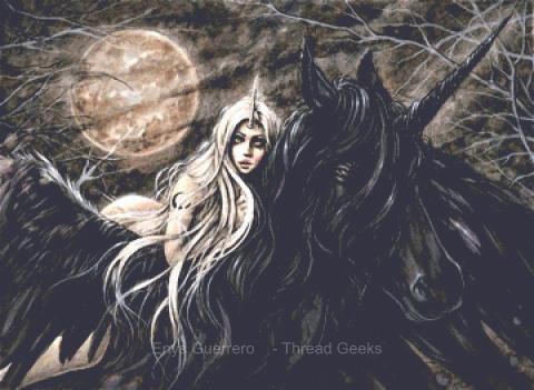 Dark Unicorn Cross Stitch Chart - Kit  - Goth - Enys Guerrero