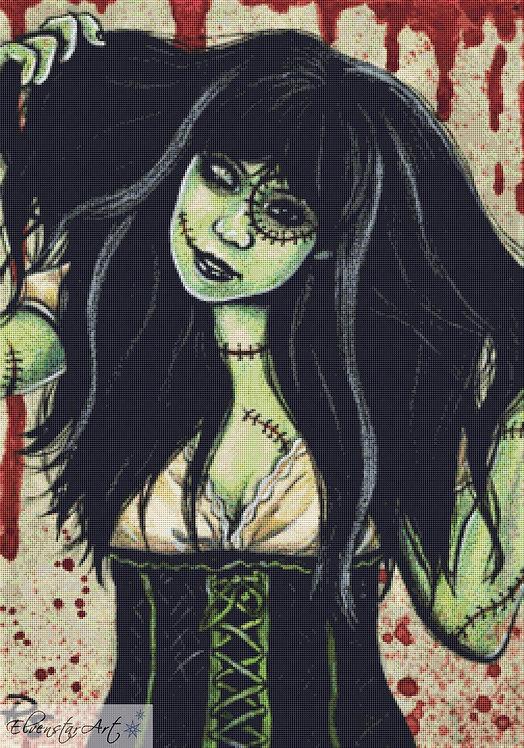 Stitched Cross Stitch Chart -  Kit - Goth - Fantasy - Sinz