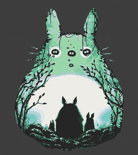 Large Totoro Cross Stitch Chart PDF