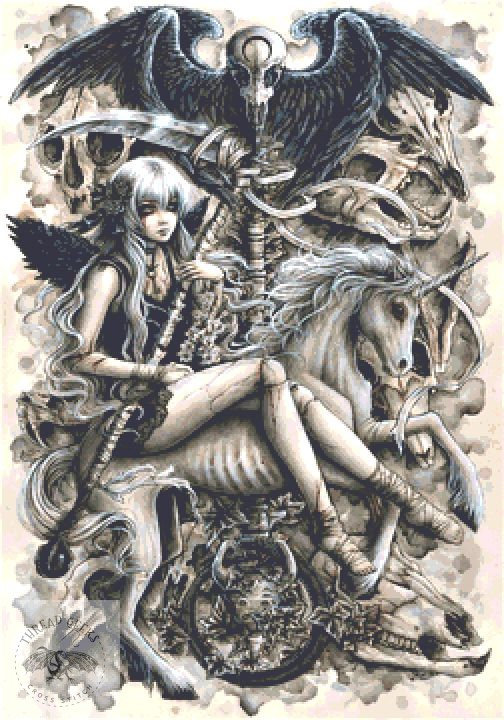 Death Cross Stitch Chart - Kit  - Goth - Enys Guerrero