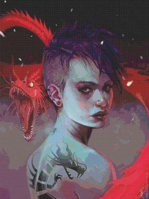 Girl with the Dragon Tattoo Cross Stitch  Chart - Kit