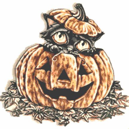 Pumpkin Cat Cross Stitch Chart PDF