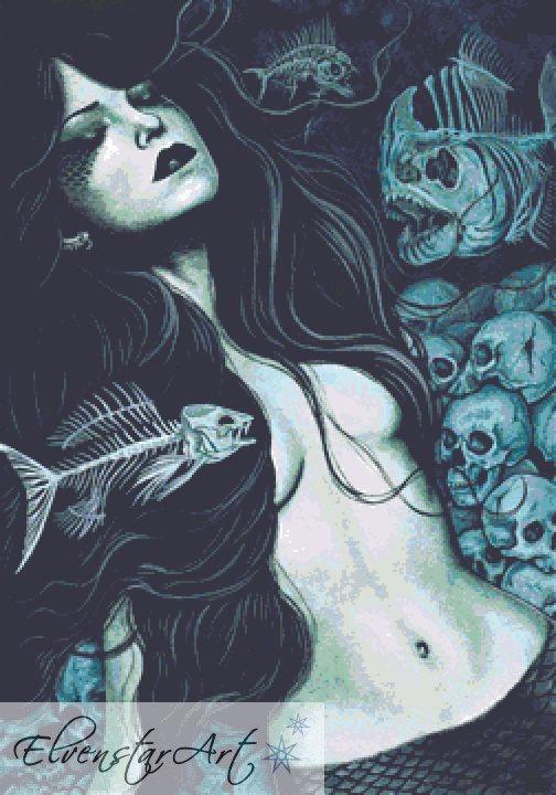 Dead Sea Cross Stitch Chart -  Kit - Goth - Fantasy - Sinz