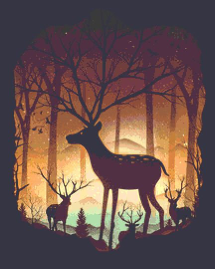 Deer Cross Stitch Kit - Chart