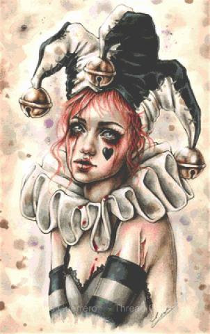 Don't Forget Me Cross Stitch Chart - Kit  - Goth - Enys Guerrero - Clown
