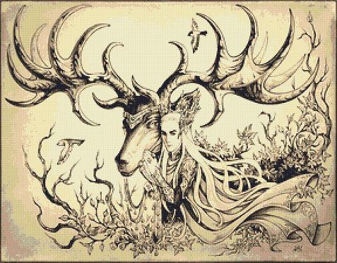 Forest King Cross Stitch - Thranduil  - The Hobbit - Elf - Candra