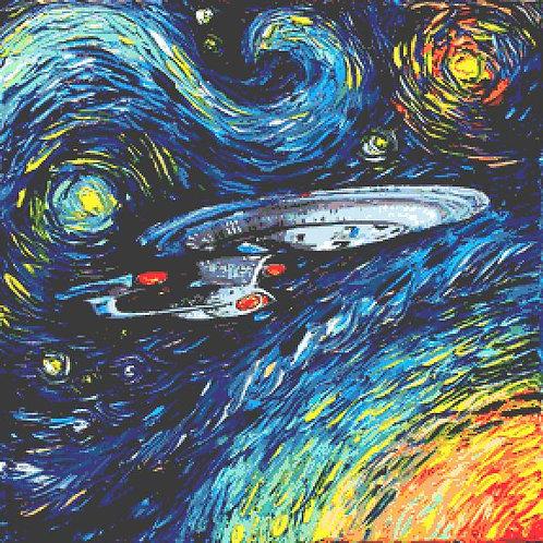 Large Star Trek Enterprise  Cross Stitch Chart PDF