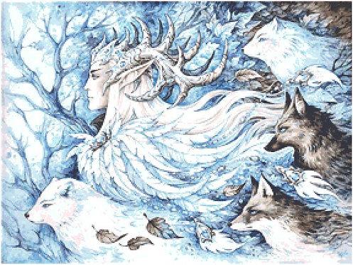 Spirits of Winter Cross Stitch - The Hobbit - Elf - Thranduil - Fox - Wolf