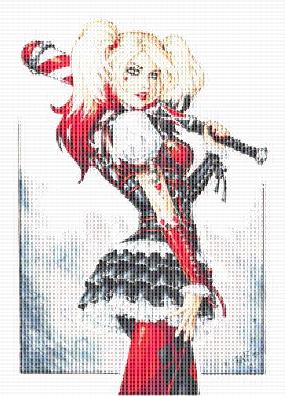 Dark Harley Quinn Portrait Cross Stitch  - Gothic - Fantasy - Candra