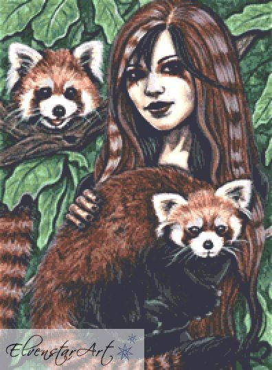 Affection Counted Cross Stitch Kit - Red Panda