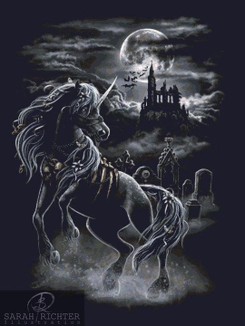 Dark Unicorn Cross Stitch - Chart - Kit - Fantasy - Castle