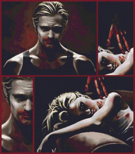 Eric and Sookie Cross Stitch  Chart - Kit - True Blood - Vampire