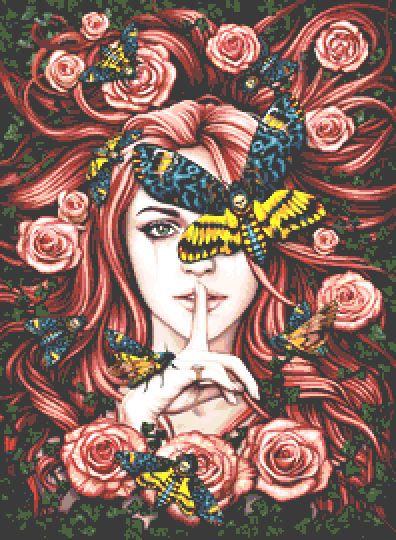 Lady Moth Cross Stitch Chart - Kit - Fantasy - Goth