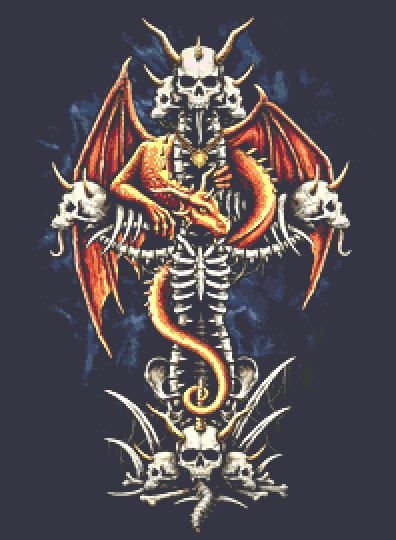 Dragons Cross Cross Stitch Chart - Kit  - Fantasy - Goth