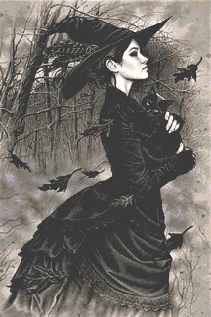 Blowing Leaves Cross Stitch Chart - Kit - Witch - Goth - Fantasy