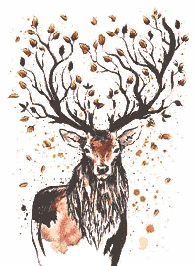 Autumn Deer Cross Stitch Chart PDF