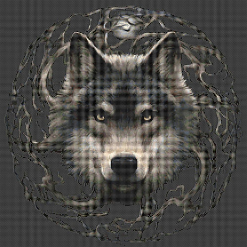 Night Forest Wolf Cross Stitch Chart - Kit - Anne Stokes
