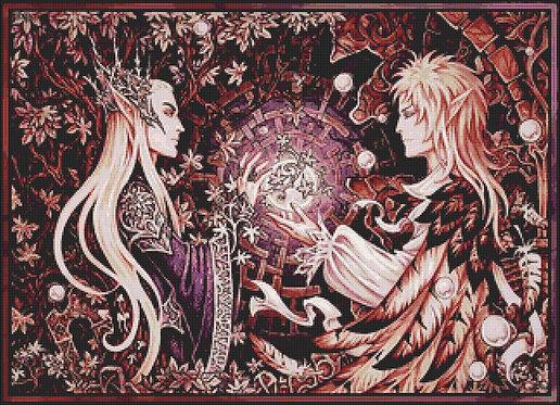 Large Two Kings Cross Stitch Chart PDF - Labyrinth - Thranduil - Hobbit