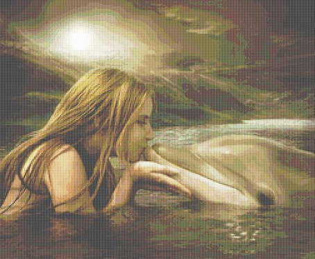 Dolphin Kiss Cross Stitch Chart - Kit - Friendship