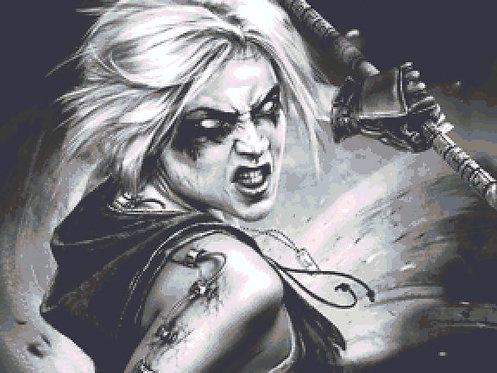 Angel of Darkness Cross Stitch - Fantasy - Goth - Inna