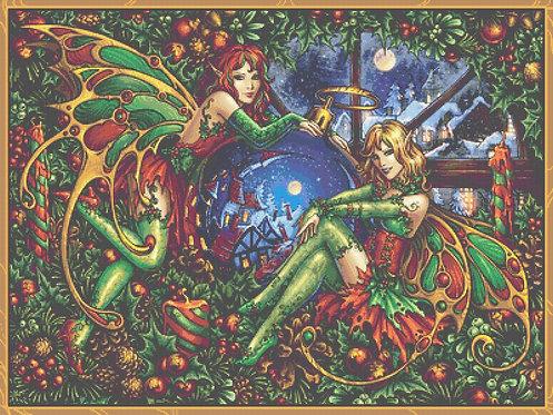 Christmas Fairy Cross Stitch - Gothic - Fantasy  - Magic - Festive - Candra
