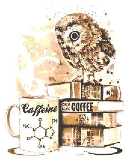 Coffee Owl Cross Stitch Kit - Chart