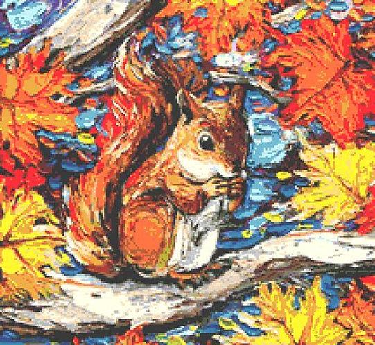 Red Squirrel Cross Stitch Chart - Kit - Autumn