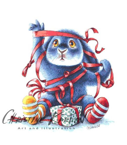 Benny Blue Tangled Cross Stitch  Chart - Kit - Rabbit - Christmas