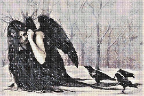 Raven Fairy Cross Stitch Chart - Kit - Victoria Frances - Goth - Fantasy