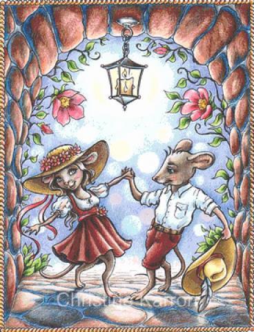 Dancing Mouse Couple Fairy Cross Stitch Chart - Kit