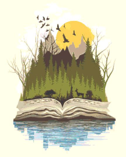 Forest Book Cross Stitch Kit - Chart