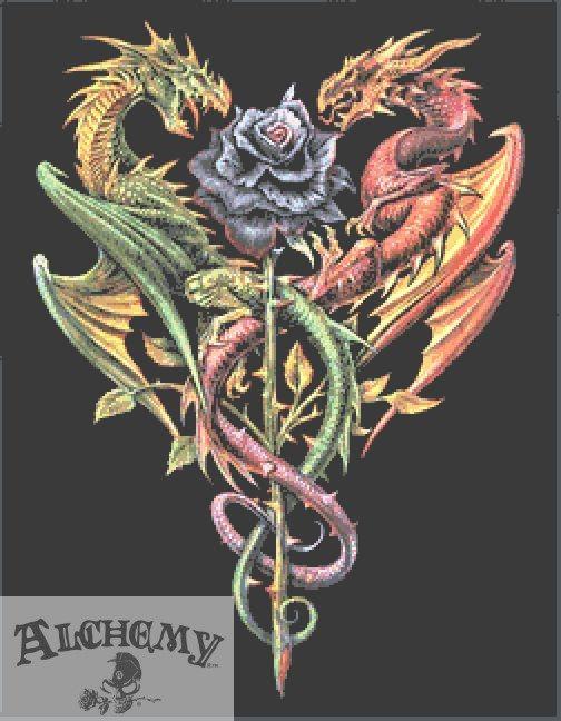 Caduceus Dragon Cross Stitch PDF Chart - Alchemy Gothic
