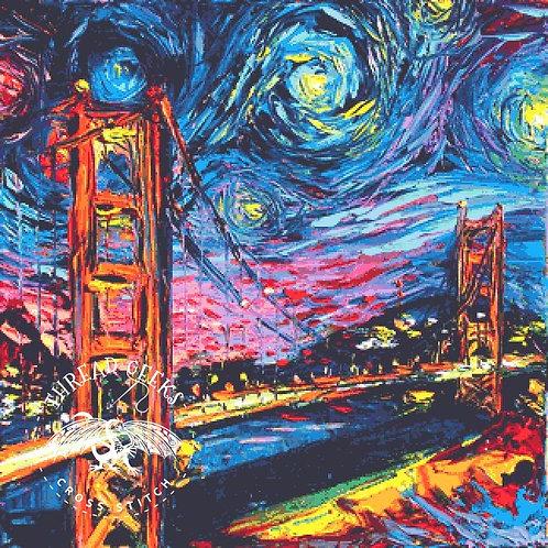 Golden Gate Bridge Cross Stitch Chart - Kit - San Fransisco - USA